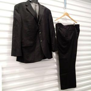 Stafford Super Black Pinstripe Suit Mens Size 42S
